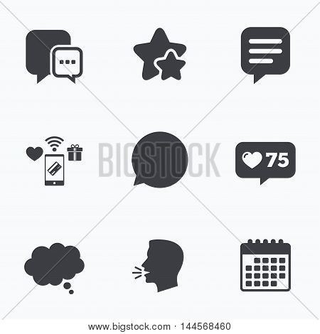 Chat icons. Comic speech bubble signs. Communication think symbol. Flat talking head, calendar icons. Stars, like counter icons. Vector