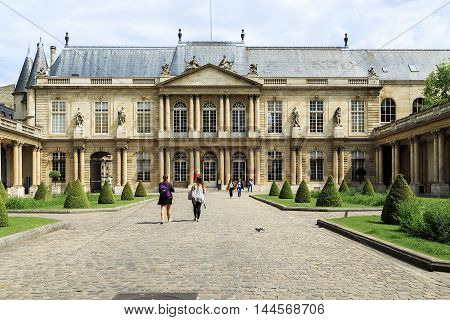 PARIS, FRANCE - MAY 13, 2015: This house is called the Soubise hotel there is the Museum of the history of France.