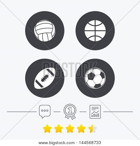 Sport balls icons. Volleyball, Basketball, Soccer and American football signs. Team sport games. Chat, award medal and report linear icons. Star vote ranking. Vector