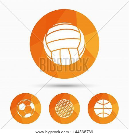 Sport balls icons. Volleyball, Basketball, Soccer and Golf signs. Team sport games. Triangular low poly buttons with shadow. Vector