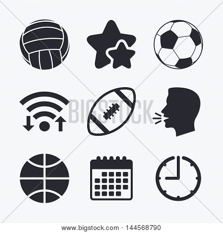 Sport balls icons. Volleyball, Basketball, Soccer and American football signs. Team sport games. Wifi internet, favorite stars, calendar and clock. Talking head. Vector