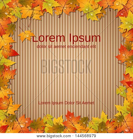 Autumn cardboard background, colorful leaves frame with waterdrops