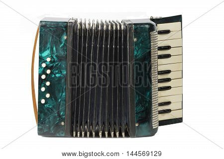 green vintage accordion isolated on white background.