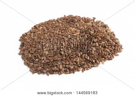 Close-up on a Linseed in white background