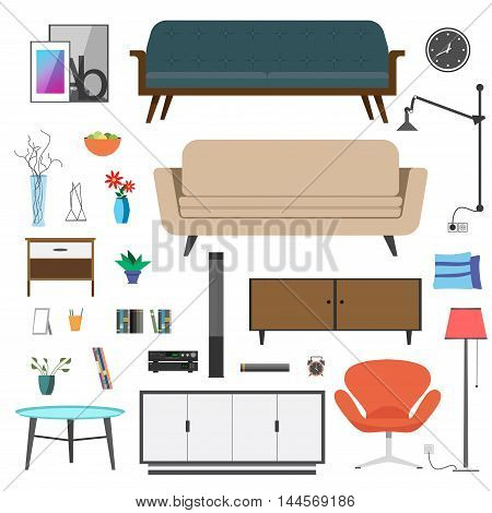 Set collection furniture. Isolate object on white background