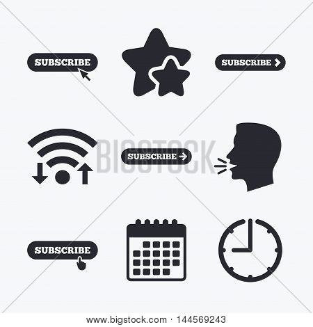 Subscribe icons. Membership signs with arrow or hand pointer symbols. Website navigation. Wifi internet, favorite stars, calendar and clock. Talking head. Vector