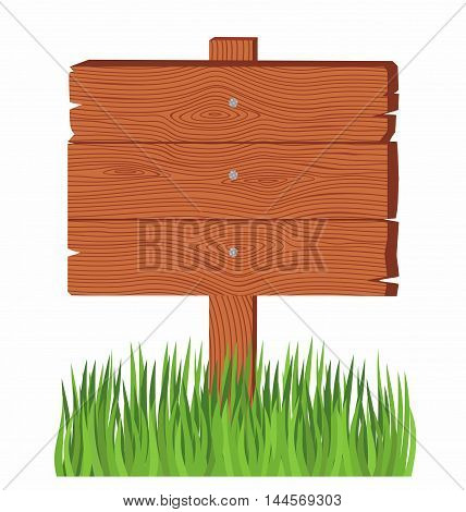wooden board on a grass. old wooden billboard on the grass isolated on white background
