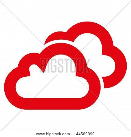 Clouds vector icon. Style is stroke flat icon symbol, red color, white background.