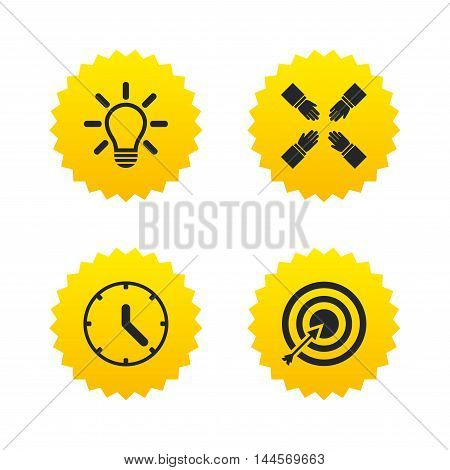 Lamp idea and clock time icons. Target aim sign. Darts board with arrow. Teamwork symbol. Yellow stars labels with flat icons. Vector