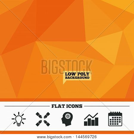 Triangular low poly orange background. Lamp idea and head with gear icons. Graph chart diagram sign. Teamwork symbol. Calendar flat icon. Vector