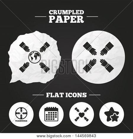 Crumpled paper speech bubble. Teamwork icons. Helping Hands with globe and heart symbols. Group of employees working together. Paper button. Vector