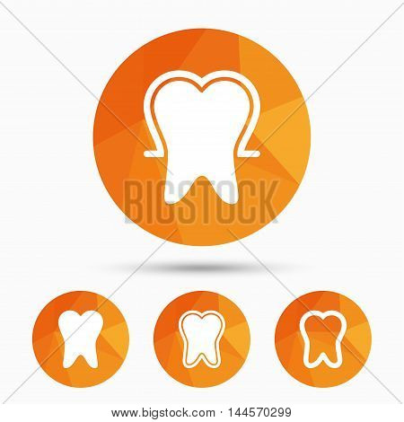 Tooth enamel protection icons. Dental toothpaste care signs. Healthy teeth sign. Triangular low poly buttons with shadow. Vector