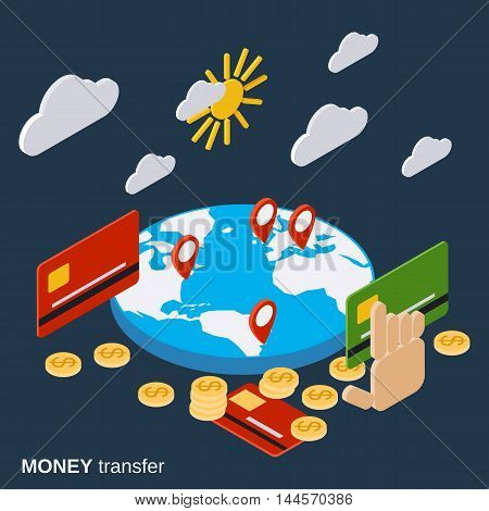 Money transfer, financial transaction, online banking, pay per click vector concept