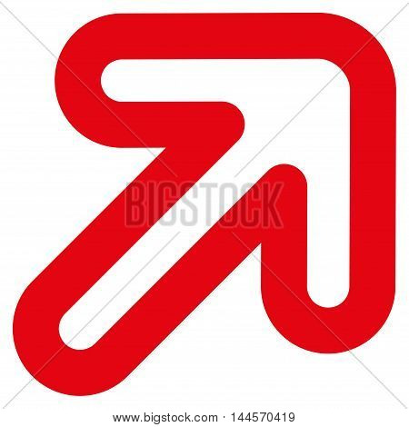 Right-Up Arrow vector icon. Style is stroke flat icon symbol, red color, white background.