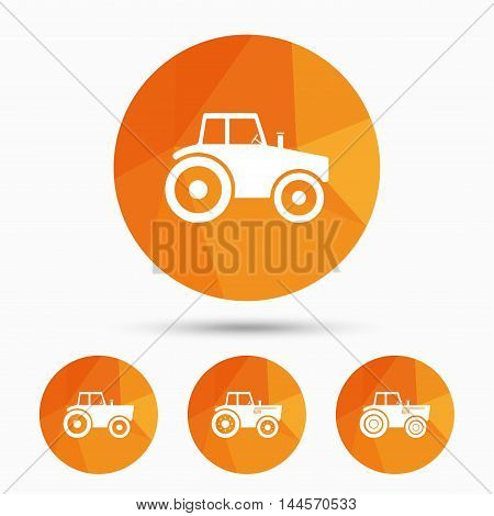 Tractor icons. Agricultural industry transport symbols. Triangular low poly buttons with shadow. Vector