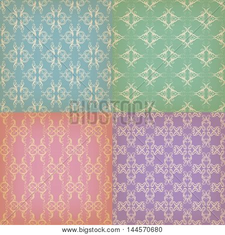 Set of seamless background with graphic patterns for design, color with vintage style