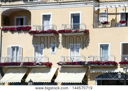 view of the colorful houses in Positano coast amalfitana Italy