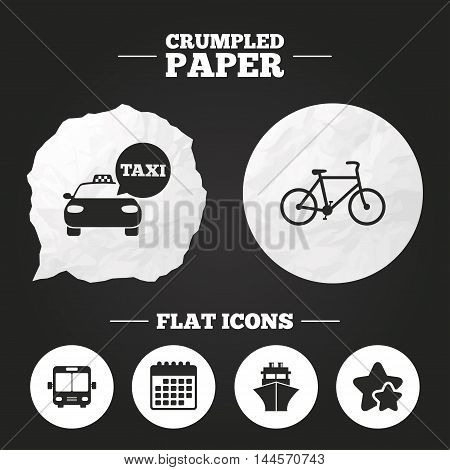 Crumpled paper speech bubble. Transport icons. Taxi car, Bicycle, Public bus and Ship signs. Shipping delivery symbol. Speech bubble sign. Paper button. Vector