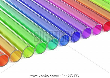 Colored acrylic plastic tubes 3D rendering isolated on white background