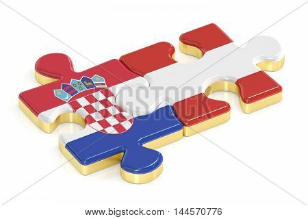 Croatia and Austria puzzles from flags 3D rendering