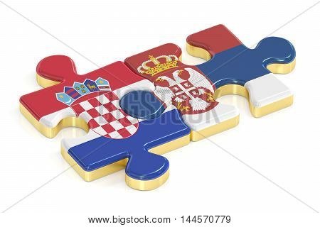 Croatia and Serbia puzzles from flags 3D rendering