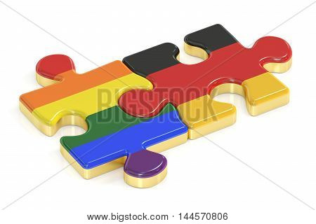 Gay Pride Rainbow and Germany puzzles from flags 3D rendering