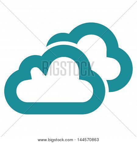 Clouds vector icon. Style is stroke flat icon symbol, soft blue color, white background.