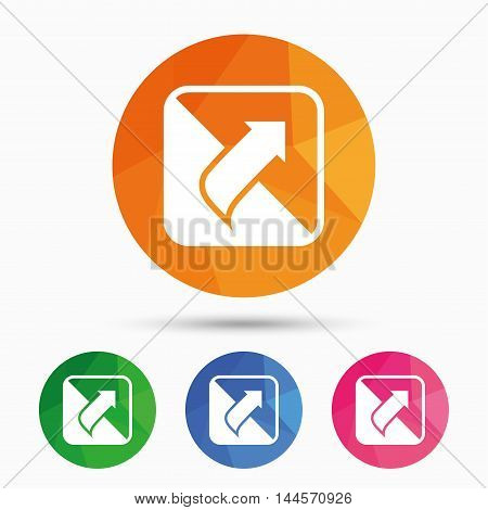 Turn page sign icon. Peel back the corner of the sheet symbol. Triangular low poly button with flat icon. Vector