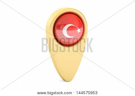 map pointer with flag of Turkey 3D rendering isolated on white background