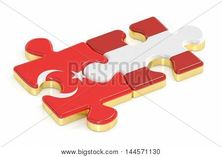 Turkey and Austria puzzles from flags 3D rendering