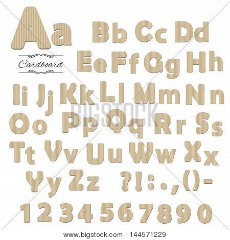 Cardboard font isolated on white. Letters and numbers.