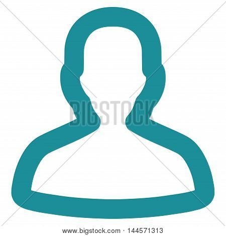 Person vector icon. Style is outline flat icon symbol, soft blue color, white background.