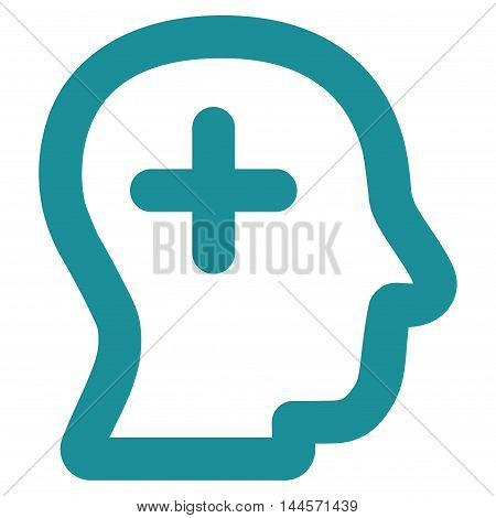 Positive Thinking vector icon. Style is contour flat icon symbol, soft blue color, white background.