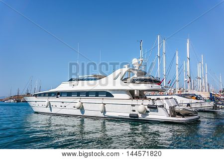Luxury Yacht docked at Bodrum port Turkey
