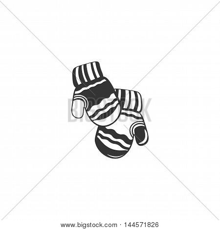 Winter mittens. Vector hand drawn mitten with doodle abstract ornament. Isolated. Illustration