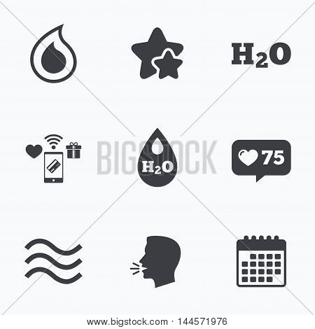 H2O Water drop icons. Tear or Oil drop symbols. Flat talking head, calendar icons. Stars, like counter icons. Vector