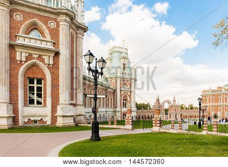 Tsaritsyno palace in Moscow with lantern on the foreground