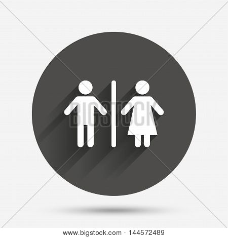 WC sign icon. Toilet symbol. Male and Female toilet. Circle flat button with shadow. Vector