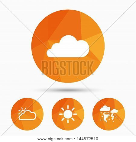 Weather icons. Cloud and sun signs. Storm or thunderstorm with lightning symbol. Gale hurricane. Triangular low poly buttons with shadow. Vector