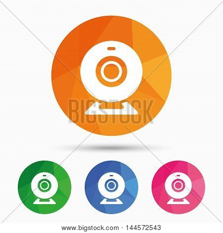 Webcam sign icon. Web video chat symbol. Camera chat. Triangular low poly button with flat icon. Vector