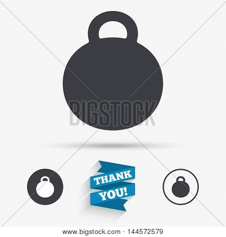 Weight sign icon. Sport symbol. Fitness. Flat icons. Buttons with icons. Thank you ribbon. Vector
