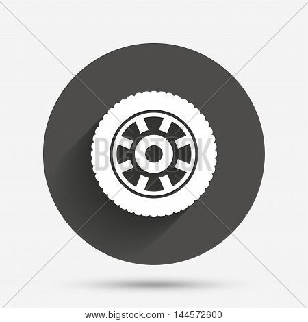 Car wheel sign icon. Circular transport component symbol. Circle flat button with shadow. Vector