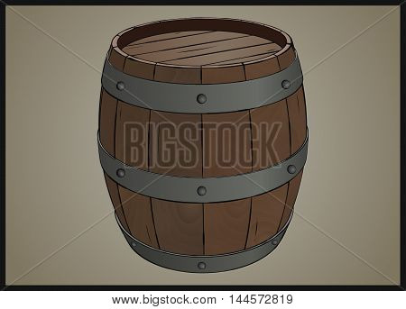 Wooden barrel with iron rings stylized vector illustration