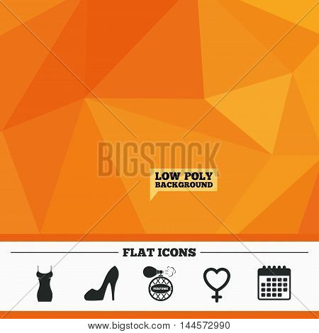 Triangular low poly orange background. Women dress icon. Sexy shoe sign. Perfume glamour fragrance symbol. Calendar flat icon. Vector