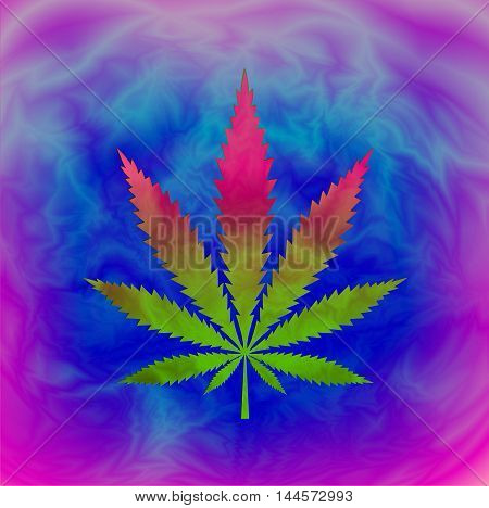 Tie Dyed Pot Leaf abstract psychedelic background, vector, EPS10