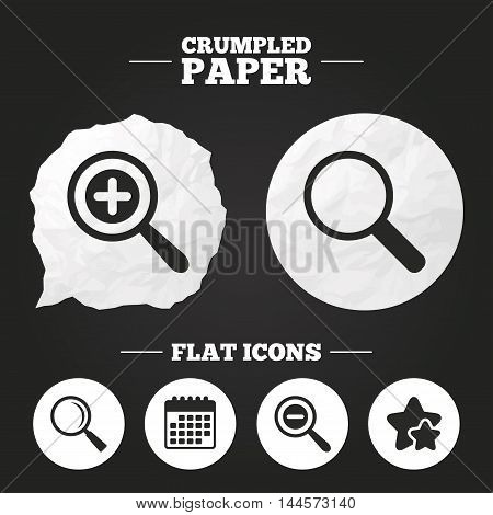 Crumpled paper speech bubble. Magnifier glass icons. Plus and minus zoom tool symbols. Search information signs. Paper button. Vector