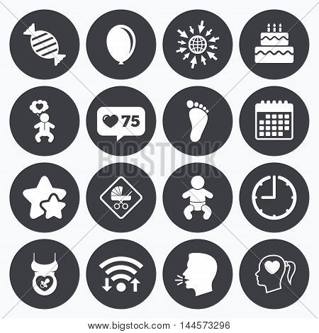 Calendar, wifi and clock symbols. Like counter, stars symbols. Pregnancy, maternity and baby care icons. Candy, strollers and pacifier signs. Footprint, birthday cake and heart symbols. Talking head, go to web symbols. Vector