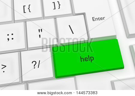 Computer Keyboard With The Word Help On A Green Key As A Hot Button 3d illustration