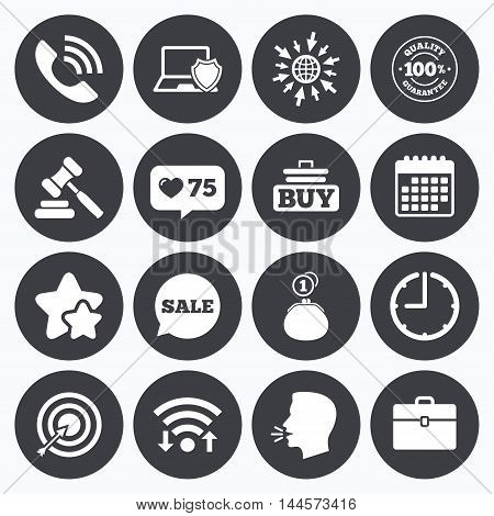 Calendar, wifi and clock symbols. Like counter, stars symbols. Online shopping, e-commerce and business icons. Auction, phone call and sale signs. Cash money, case and target symbols. Talking head, go to web symbols. Vector