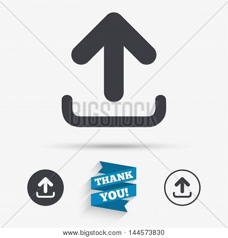 Upload sign icon. Upload button. Load symbol. Flat icons. Buttons with icons. Thank you ribbon. Vector